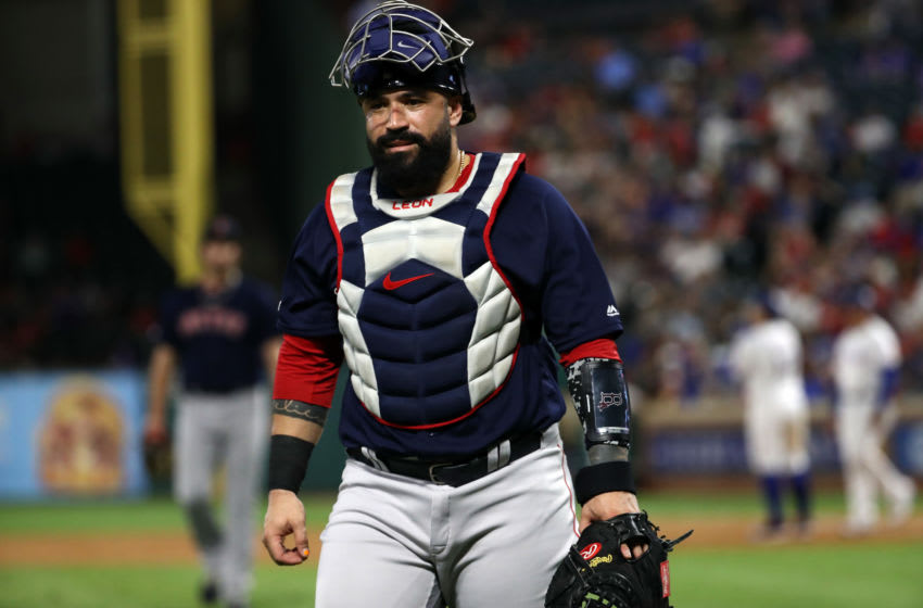 ARLINGTON, TEXAS - SEPTEMBER 25: Sandy Leon #3 of the Boston Red Sox at Globe Life Park in Arlington on September 25, 2019 in Arlington, Texas. (Photo by Ronald Martinez/Getty Images)