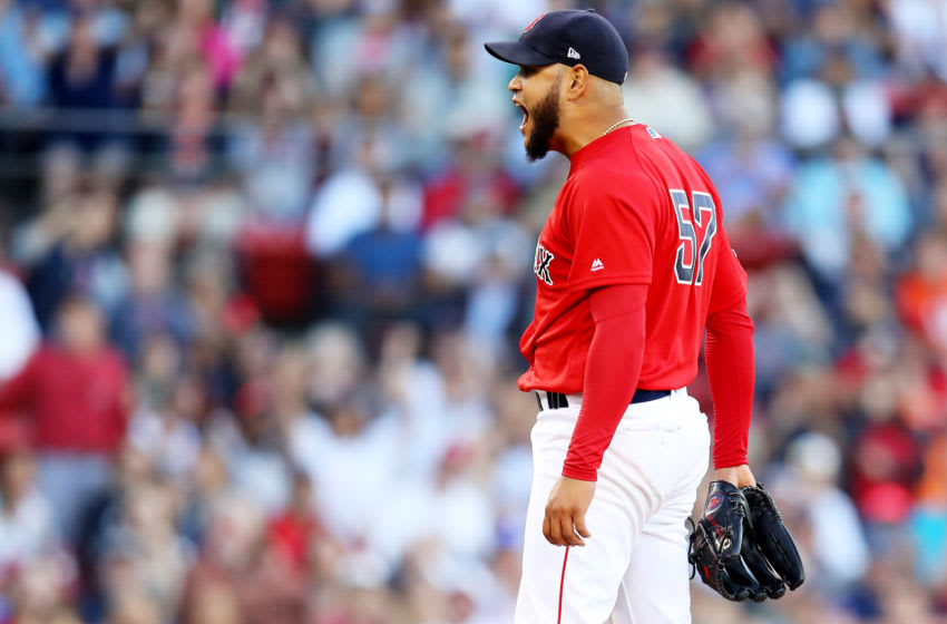BOSTON, MASSACHUSETTS - SEPTEMBER 29: Eduardo Rodriguez #57 of the Boston Red Sox celebrates after the third out of the seventh inning against the Baltimore Orioles at Fenway Park on September 29, 2019 in Boston, Massachusetts. (Photo by Maddie Meyer/Getty Images)