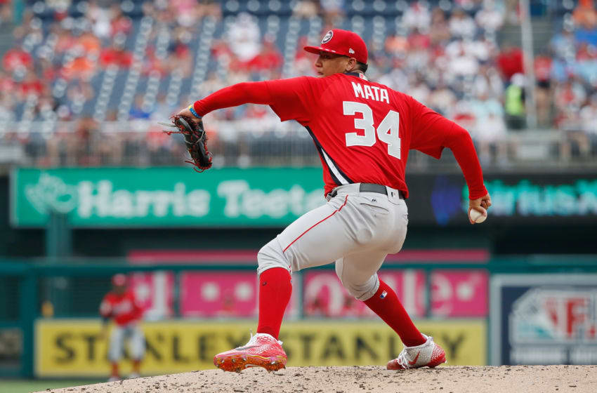 WASHINGTON, DC - JULY 15: Pitcher Bryan Mata #34 of the World Team and the Boston Red Sox works the third inning against the U.S. Team during the SiriusXM All-Star Futures Game at Nationals Park on July 15, 2018 in Washington, DC. (Photo by Patrick McDermott/Getty Images)