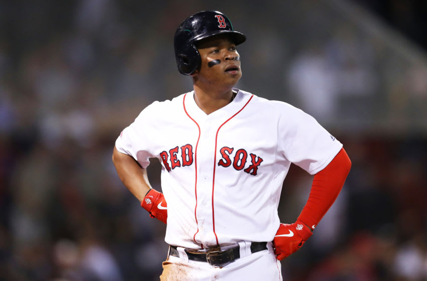 BOSTON, MASSACHUSETTS - SEPTEMBER 05: Rafael Devers #11 of the Boston Red Sox reacts after the Red Sox loss to Minnesota Twins 2-1 at Fenway Park on September 05, 2019 in Boston, Massachusetts. (Photo by Maddie Meyer/Getty Images)