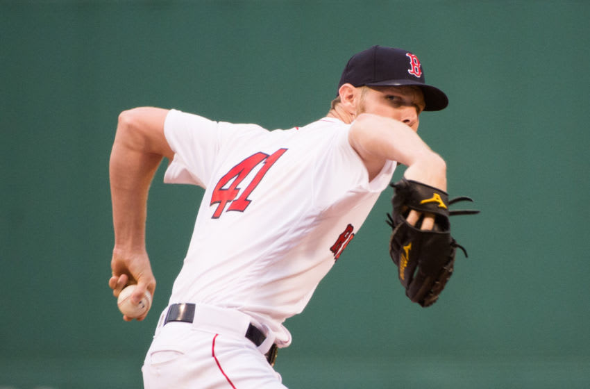 BOSTON, MA - JUNE 10: Chris Sale #41 of the Boston Red Sox pitches against the Texas Rangers in the first inning at Fenway Park on June 10, 2019 in Boston, Massachusetts. (Photo by Kathryn Riley /Getty Images)