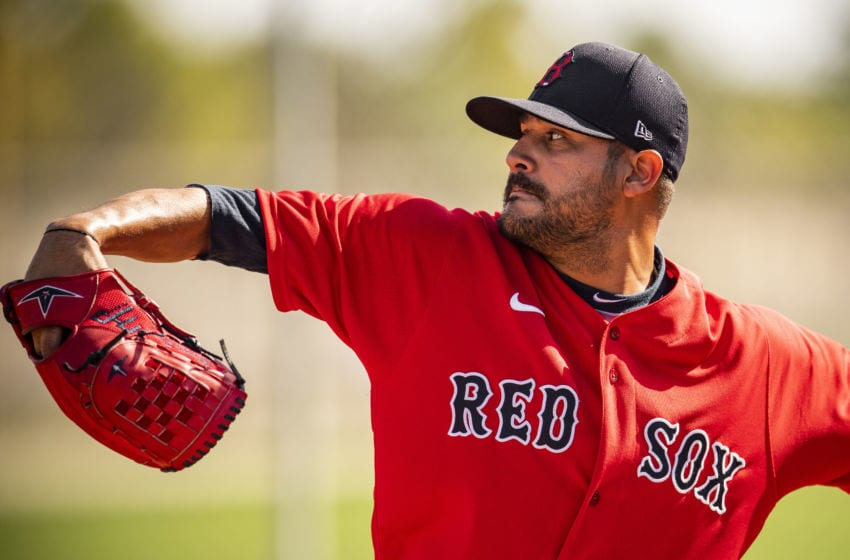 FT. MYERS, FL - FEBRUARY 15: Martin Perez #54 of the Boston Red Sox throws during a team workout on February 15, 2020 at JetBlue Park at Fenway South in Fort Myers, Florida. (Photo by Billie Weiss/Boston Red Sox/Getty Images)