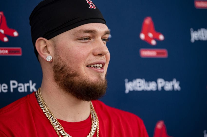 FT. MYERS, FL - FEBRUARY 15: Alex Verdugo #99 of the Boston Red Sox speaks to the media during a press conference during a team workout on February 15, 2020 at jetBlue Park at Fenway South in Fort Myers, Florida. (Photo by Billie Weiss/Boston Red Sox/Getty Images)
