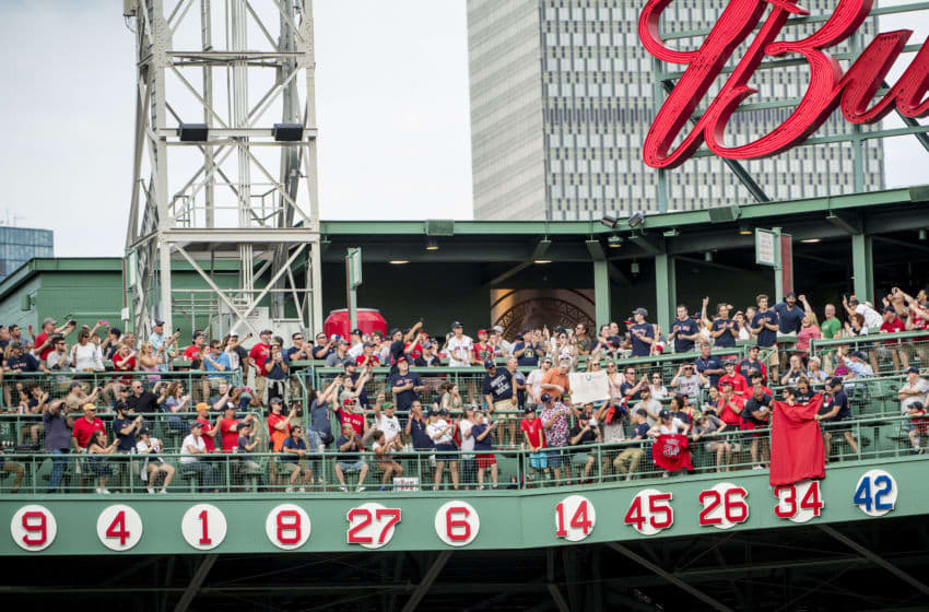 BOSTON, MA - JUNE 23: The number 34 is unveiled during a ceremony for the retirement of the jersey number of former Boston Red Sox designated hitter David Ortiz before a game against the Los Angeles Angels of Anaheim on June 23, 2017 at Fenway Park in Boston, Massachusetts. (Photo by Billie Weiss/Boston Red Sox/Getty Images)