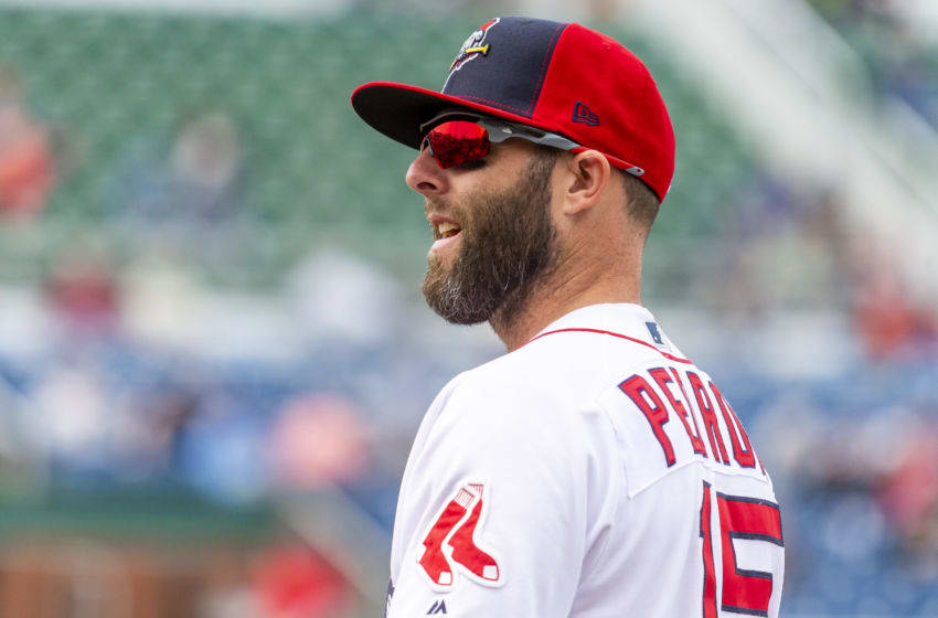 PORTLAND, ME - MAY 04: Dustin Pedroia #15 of the Boston Red Sox prepares for the game between the Portland Sea Dogs and the Binghamton Rumble Ponies while on a rehab assignment at Hadlock Field on May 4, 2019 in Portland, Maine. (Photo by Zachary Roy/Getty Images)