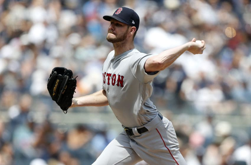 NEW YORK, NEW YORK - AUGUST 03: (NEW YORK DAILIES OUT) Chris Sale #41 of the Boston Red Sox in action against the New York Yankees at Yankee Stadium on August 03, 2019 in New York City. The Yankees defeated the Red Sox 9-2. (Photo by Jim McIsaac/Getty Images)