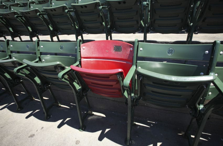 BOSTON, MA - JULY 10: A red seat in the right field stands marking the spot where Ted Williams hit the longest home run in Fenway Park history is shown prior to a game between the Boston Red Sox and Baltimore Orioles at Fenway Park on July 10, 2011 in Boston, Massachusetts. The Red Sox won 8-6. (Photo by Joe Robbins/Getty Images)