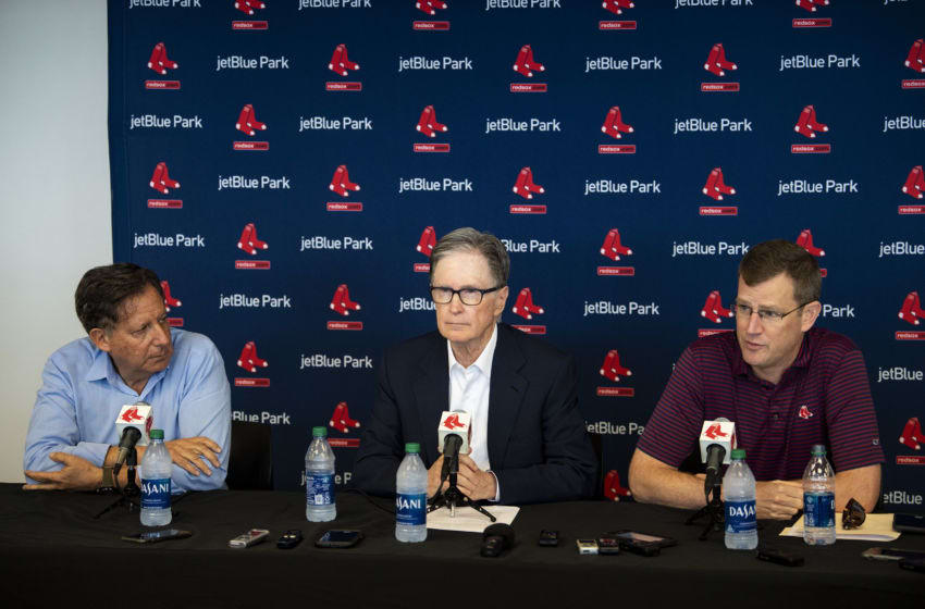 FT. MYERS, FL - FEBRUARY 17: Chairman Tom Werner, Principal Owner John Henry, and President & CEO Sam Kennedy of the Boston Red Sox speak to the media during a press conference during a team workout on February 17, 2020 at jetBlue Park at Fenway South in Fort Myers, Florida. (Photo by Billie Weiss/Boston Red Sox/Getty Images)