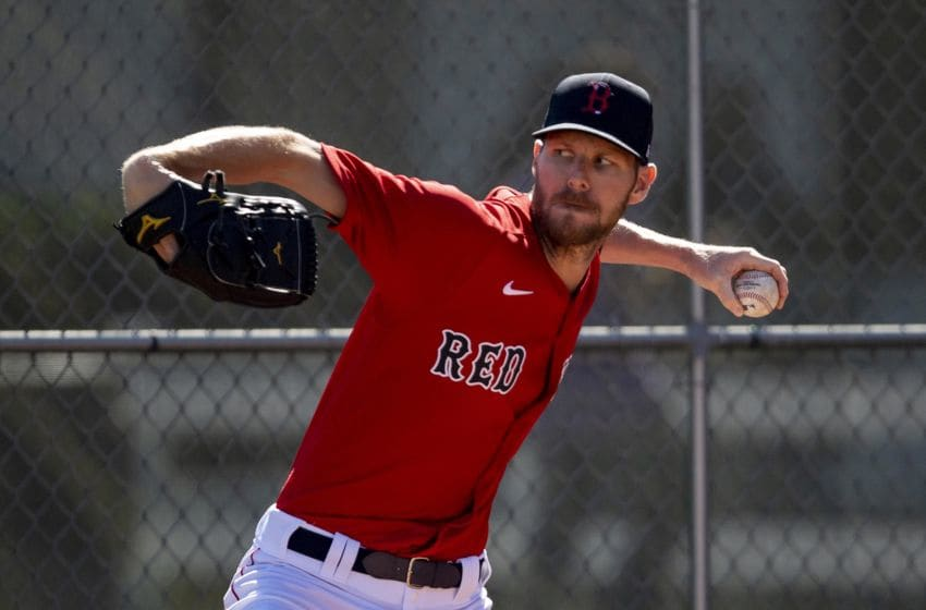 FT. MYERS, FL - MARCH 1: Chris Sale #41 of the Boston Red Sox throws before a Grapefruit League game against the Atlanta Braves on March 1, 2020 at jetBlue Park at Fenway South in Fort Myers, Florida. (Photo by Billie Weiss/Boston Red Sox/Getty Images)