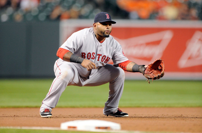 BALTIMORE, MD - SEPTEMBER 14: Pablo Sandoval #48 of the Boston Red Sox plays third base against the Baltimore Orioles at Oriole Park at Camden Yards on September 14, 2015 in Baltimore, Maryland. (Photo by G Fiume/Getty Images)