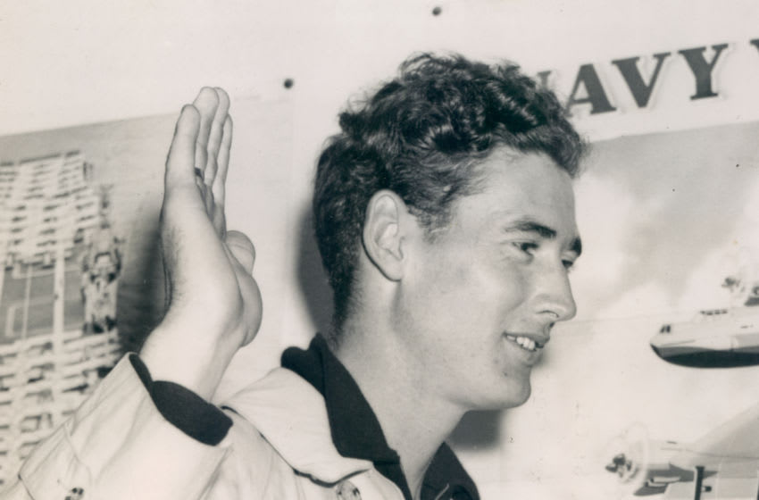 UNSPECIFIED - 1942: Boston Red Sox Ted Williams enlisting in the U.S. Navy on July 1, 1942. (Sports Studio Photos/Getty Images)
