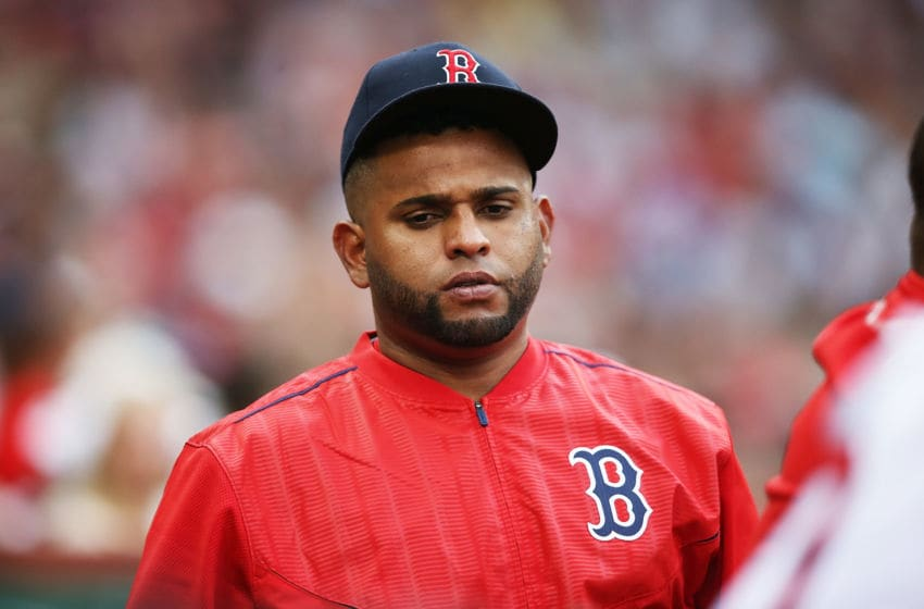 BOSTON, MA - JUNE 25: Pablo Sandoval #48 of the Boston Red Sox looks on during a game against the Los Angeles Angels of Anaheim at Fenway Park on June 25, 2017 in Boston, Massachusetts. (Photo by Adam Glanzman/Getty Images)