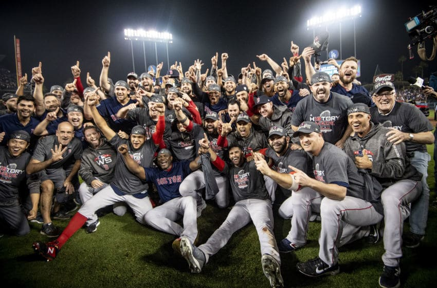 LOS ANGELES, CA - OCTOBER 28: Members of the Boston Red Sox pose for a team photograph as they celebrate after winning the 2018 World Series in game five against the Los Angeles Dodgers on October 28, 2018 at Dodger Stadium in Los Angeles, California. (Photo by Billie Weiss/Boston Red Sox/Getty Images)