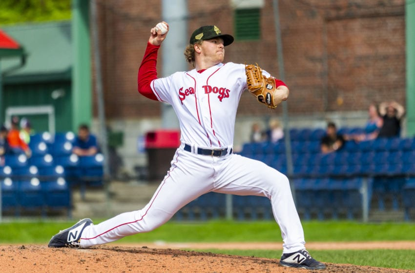 PORTLAND, ME - MAY 27: Durbin Feltman #12 of the Portland Sea Dogs delivers in the ninth inning of the game between the Portland Sea Dogs and the Altoona Curve at Hadlock Field on May 27, 2019 in Portland, Maine. (Photo by Zachary Roy/Getty Images)