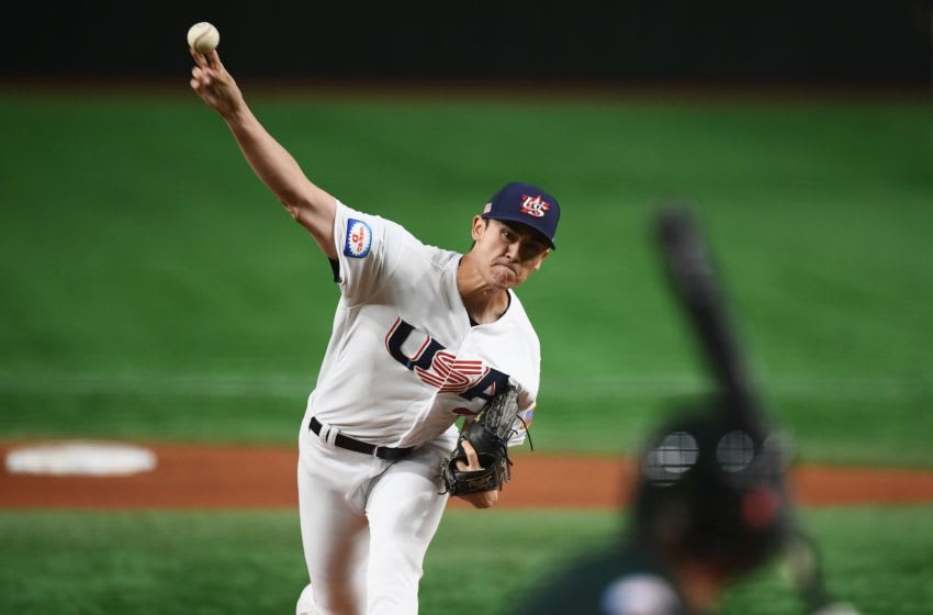 Noah Song of the US throws the ball during the WBSC Premier 12 Super Round baseball match between Australia and the US, at the Tokyo Dome in Tokyo on November 13, 2019. (Photo by CHARLY TRIBALLEAU / AFP) (Photo by CHARLY TRIBALLEAU/AFP via Getty Images)