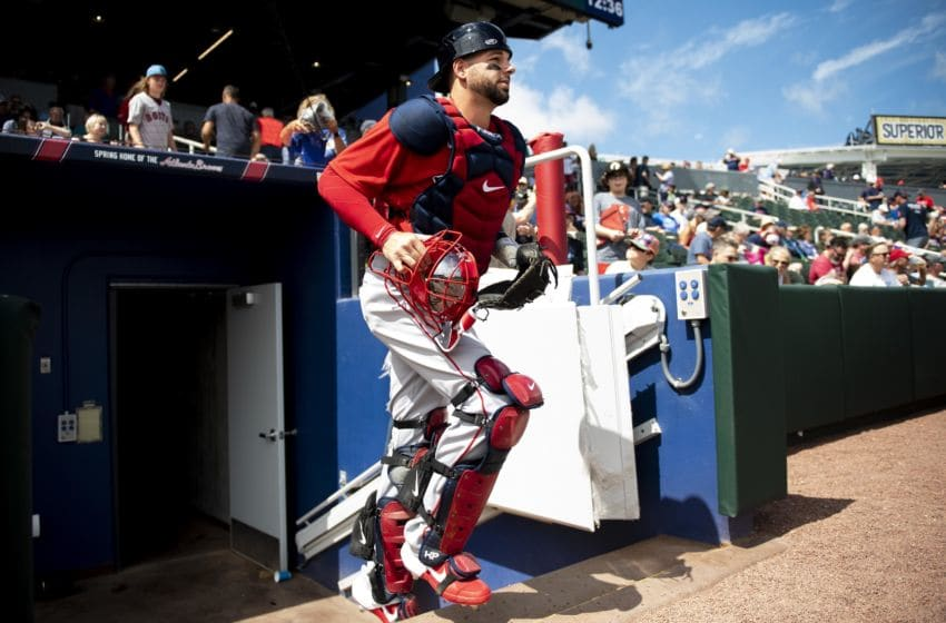 NORTH PORT, FL - MARCH 6: Kevin Plawecki #25 of the Boston Red Sox exits the dugout before a Grapefruit League game against the Atlanta Braves on March 6, 2020 at CoolToday Park in North Port, Florida. (Photo by Billie Weiss/Boston Red Sox/Getty Images)