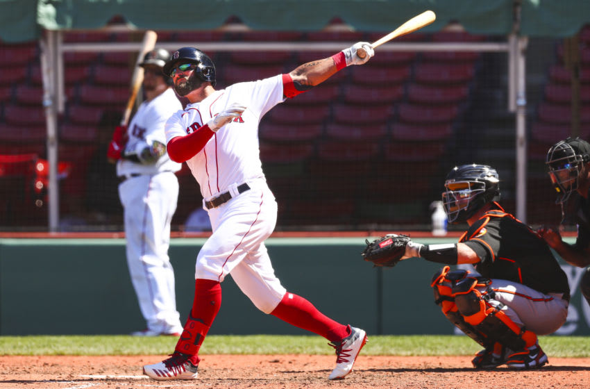 BOSTON, MA - JULY 26: Kevin Pillar #5 of the Boston Red Sox hits a solo home run in the fifth inning of a game against the Baltimore Orioles at Fenway Park on July 26, 2020 in Boston, Massachusetts. (Photo by Adam Glanzman/Getty Images)