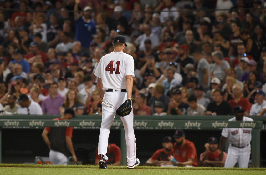 Jul 13, 2019; Boston, MA, USA; Boston Red Sox starting pitcher Chris Sale (41) walks to the dugout after being relived during the fifth inning against the Los Angeles Dodgers at Fenway Park. Mandatory Credit: Bob DeChiara-USA TODAY Sports