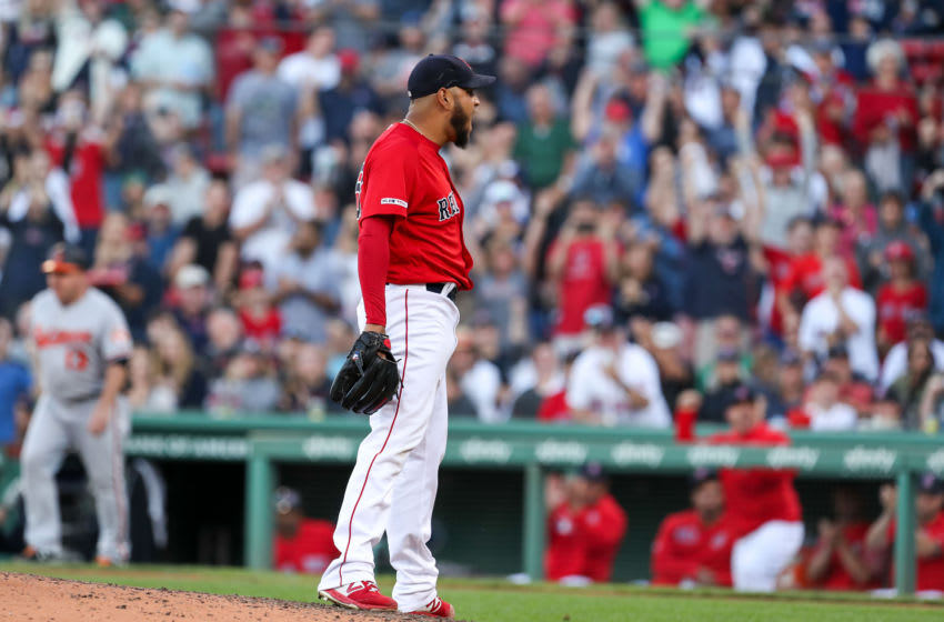 Sep 29, 2019; Boston, MA, USA; Boston Red Sox starting pitcher Eduardo Rodriguez (57) reacts after striking out a batter to end the seventh inning against the Baltimore Orioles at Fenway Park. Mandatory Credit: Paul Rutherford-USA TODAY Sports