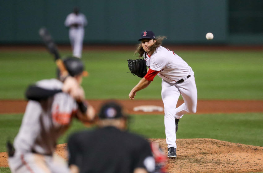 Sep 23, 2020; Boston, Massachusetts, USA; Boston Red Sox relief pitcher Mike Kickham (74) delivers a pitch during the seventh inning against the Baltimore Orioles at Fenway Park. Mandatory Credit: Paul Rutherford-USA TODAY Sports