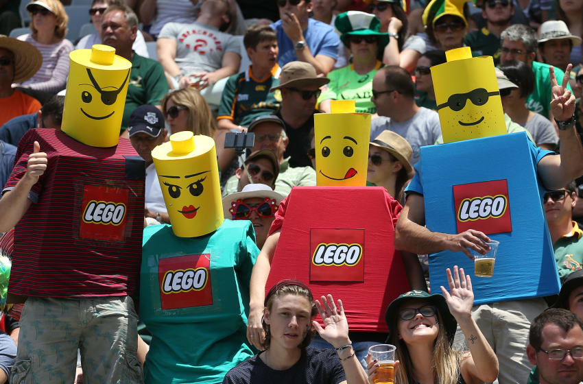 CAPE TOWN, SOUTH AFRICA - DECEMBER 13: Fans dressed as lego men during day 2 of the HSBC Cape Town Sevens at Cape Town Stadium on December 13, 2015 in Cape Town, South Africa. (Photo by Carl Fourie/Gallo Images/Getty Images)