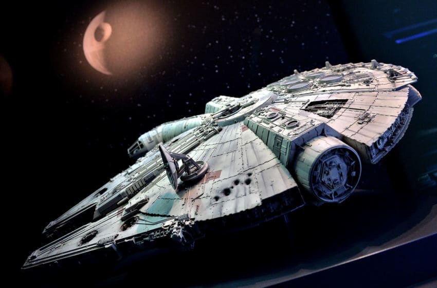 COLOGNE, GERMANY - MAY 20: The original model of Han Solo's famous pirate freighter 'The Millennium Falcon' is seen during 'Star Wars Identities' Exhibtion Press Preview