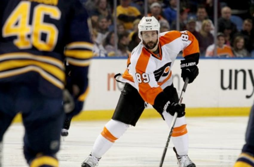 Oct 30, 2015; Buffalo, NY, USA; Philadelphia Flyers center Sam Gagner (89) skates with the puck during the third period against the Buffalo Sabres at First Niagara Center. The Sabers won 3-1. Mandatory Credit: Timothy T. Ludwig-USA TODAY Sports