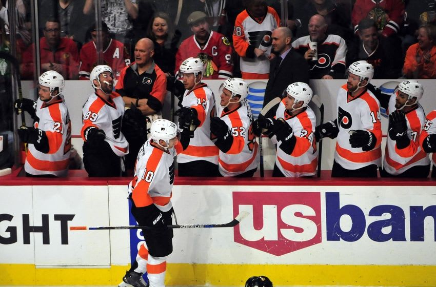 Mar 16, 2016; Chicago, IL, USA; Philadelphia Flyers center Brayden Schenn (10) celebrates his goal against the Chicago Blackhawks with his teammates) during the second period at the United Center. Mandatory Credit: David Banks-USA TODAY Sports
