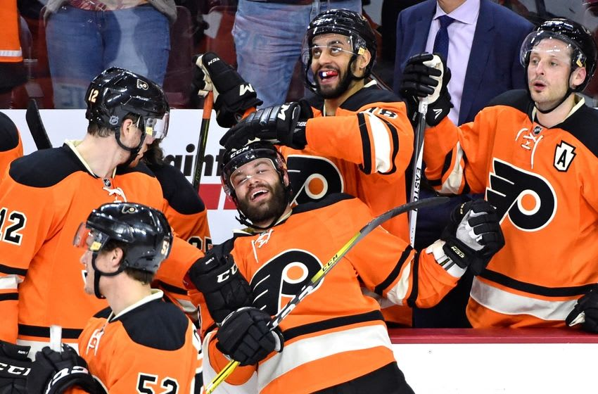 Mar 5, 2016; Philadelphia, PA, USA; Philadelphia Flyers defenseman Radko Gudas (3) celebrates his second goal of the game with his teammates against the Columbus Blue Jackets during the third period at Wells Fargo Center. The Flyers defeated The Blue Jackets, 6-0. Mandatory Credit: Eric Hartline-USA TODAY Sports