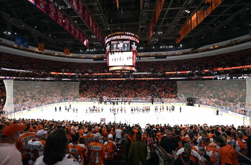 Apr 24, 2016; Philadelphia, PA, USA; The Washington Capitals and Philadelphia Flyers shake hands after game six of the first round of the 2016 Stanley Cup Playoffs at Wells Fargo Center. The Capitals won 1-0. Mandatory Credit: Derik Hamilton-USA TODAY Sports