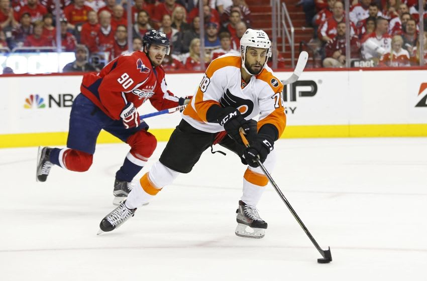 Apr 22, 2016; Washington, DC, USA; Philadelphia Flyers right wing Pierre-Edouard Bellemare (78) skates with the puck as Washington Capitals center Marcus Johansson (90) chases in the first period in game five of the first round of the 2016 Stanley Cup Playoffs at Verizon Center. Mandatory Credit: Geoff Burke-USA TODAY Sports