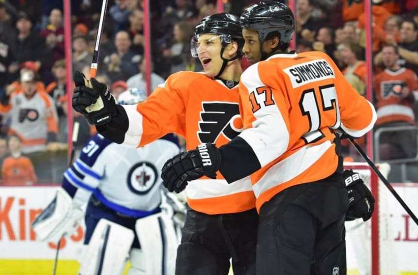 Mar 28, 2016; Philadelphia, PA, USA; Philadelphia Flyers right wing Wayne Simmonds (17) celebrates his goal with center Brayden Schenn (10) against the Winnipeg Jets during the second period at Wells Fargo Center. Mandatory Credit: Eric Hartline-USA TODAY Sports