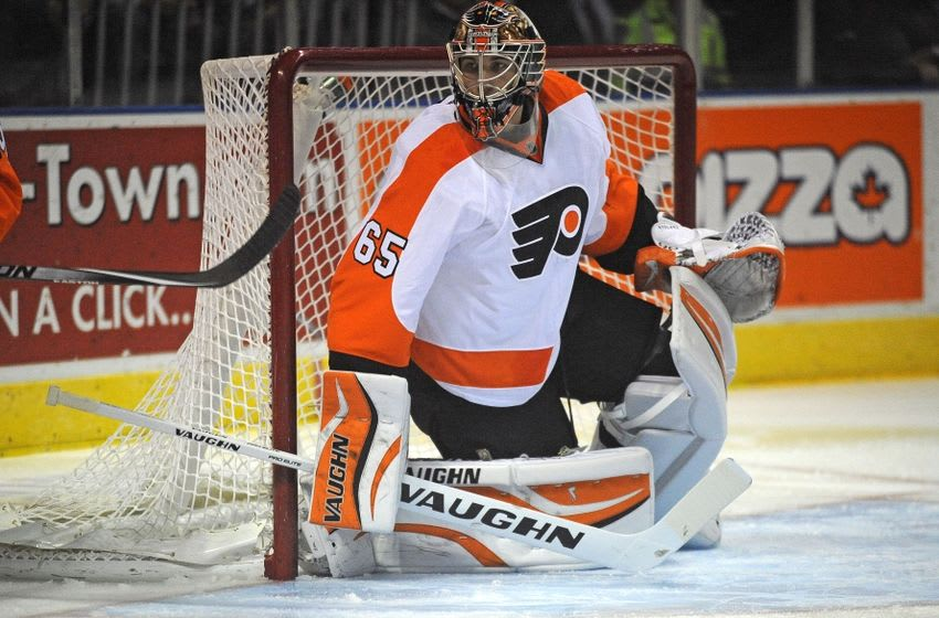 Sep 22, 2014; London, Ontario, CAN; Philadelphia Flyers goalie Anthony Stolarz (65) in the first period against Toronto Maple Leafs at Budweiser Gardens. Mandatory Credit: Peter Llewellyn-USA TODAY Sports