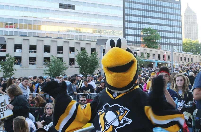 Jun 9, 2016; Pittsburgh, PA, USA; Pittsburgh Penguins mascot Iceburgh performs for fans before game five of the 2016 Stanley Cup Final against the San Jose Sharks at Consol Energy Center. Mandatory Credit: Jerry Lai-USA TODAY Sports