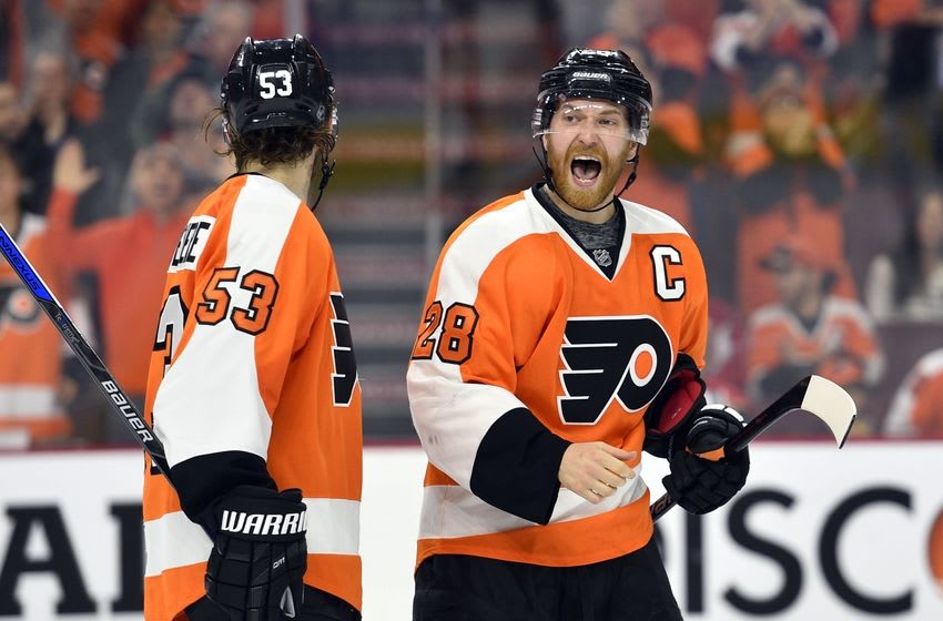 Apr 24, 2016; Philadelphia, PA, USA; Philadelphia Flyers center Claude Giroux (28) calls out to his teammates during the second period against the Washington Capitals in game six of the first round of the 2016 Stanley Cup Playoffs at Wells Fargo Center. The Capitals won 1-0. Mandatory Credit: Derik Hamilton-USA TODAY Sports