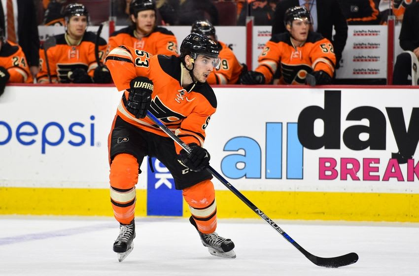 Apr 9, 2016; Philadelphia, PA, USA; Philadelphia Flyers defenseman Shayne Gostisbehere (53) looks to shoot the puck during the second period against the Pittsburgh Penguins at Wells Fargo Center. Mandatory Credit: Derik Hamilton-USA TODAY Sports