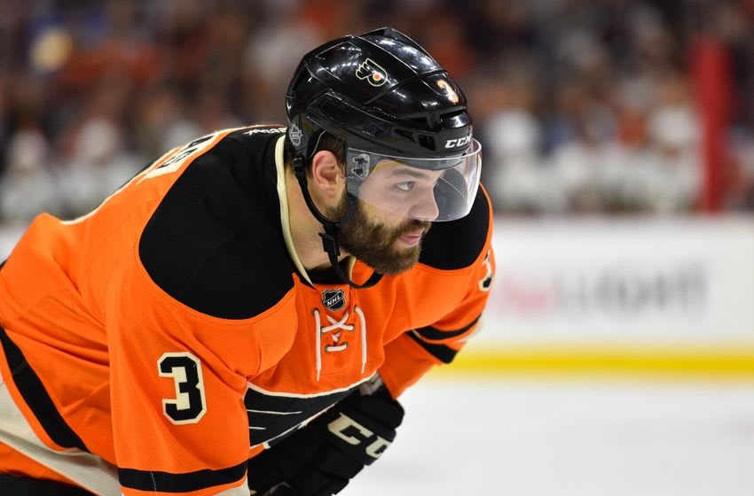 Apr 9, 2016; Philadelphia, PA, USA; Philadelphia Flyers defenseman Radko Gudas (3) looks on during the second period against the Pittsburgh Penguins at Wells Fargo Center. Mandatory Credit: Derik Hamilton-USA TODAY Sports