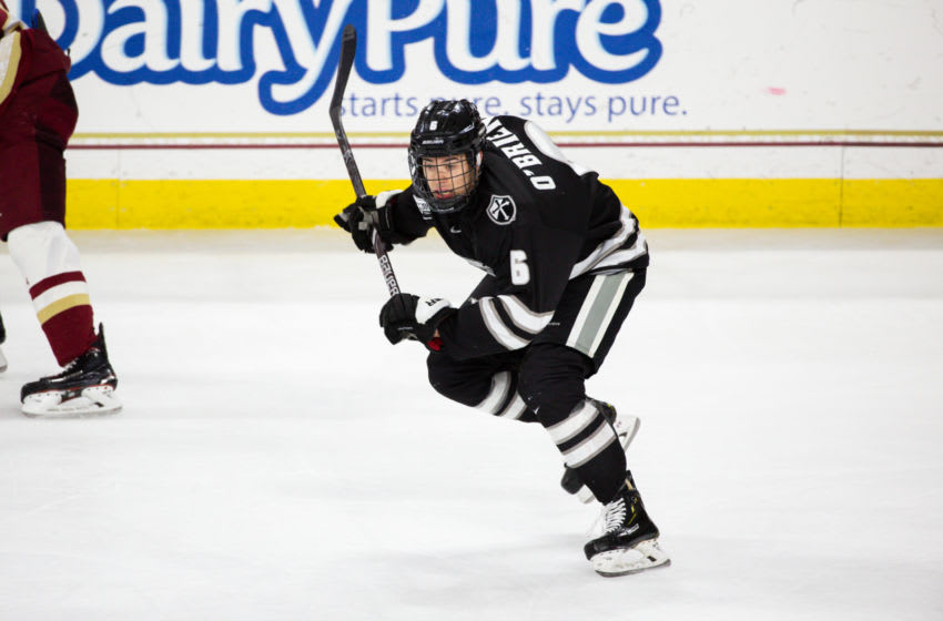 CHESTNUT HILL, MA - JANUARY 11: Jay O'Brien #6 of the Providence College Friars skates against the Boston College Eagles during NCAA hockey at Kelley Rink on January 11, 2019 in Chestnut Hill, Massachusetts. The Eagles won 4-2. (Photo by Richard T Gagnon/Getty Images)