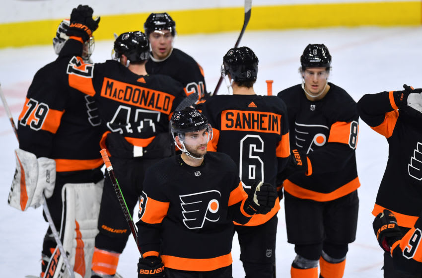 PHILADELPHIA, PA - FEBRUARY 09: Philadelphia Flyers defenseman Shayne Gostisbehere (53) and the Philadelphia Flyers celibate their victory during the NHL hockey game between the Anaheim Ducks and the Philadelphia Flyers on February 09, 2019 at the Wells Fargo Center in Philadlephia PA. (Photo by Gavin Baker/Icon Sportswire via Getty Images)