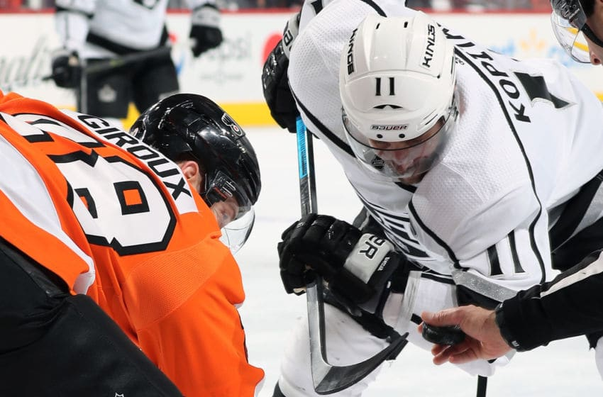 PHILADELPHIA, PA - FEBRUARY 07: Claude Giroux #28 of the Philadelphia Flyers and Anze Kopitar #11 of the Los Angeles Kings keep their eye on the puck prior to a face-off on February 7, 2019 at the Wells Fargo Center in Philadelphia, Pennsylvania. (Photo by Len Redkoles/NHLI via Getty Images)