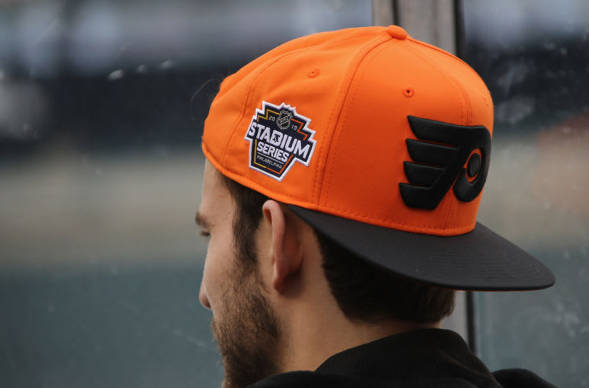 PHILADELPHIA, PENNSYLVANIA - FEBRUARY 22: Shayne Gostisbehere #53 of the Philadelphia Flyers surveys the stadium prior to the team's practice session prior to Saturday's 2019 Coors Light NHL Stadium Series game at the Lincoln Financial Field on February 22, 2019 in Philadelphia, Pennsylvania. (Photo by Bruce Bennett/Getty Images)