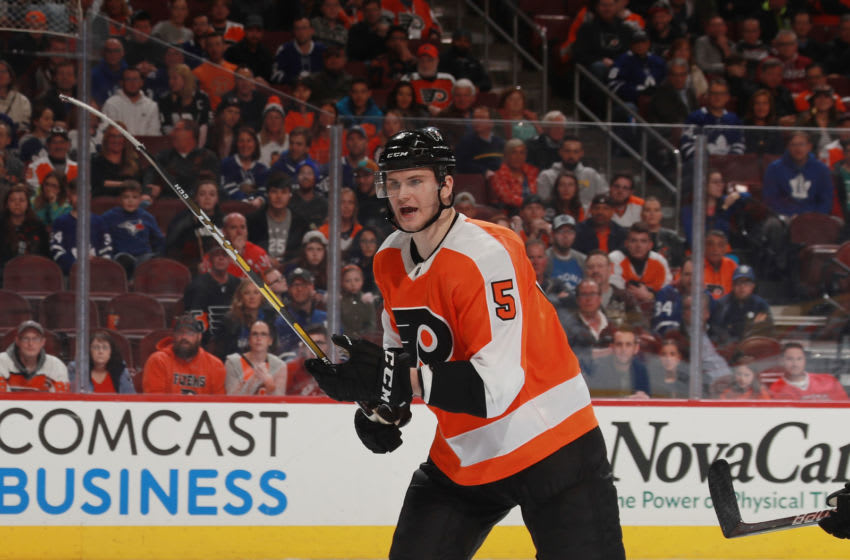 PHILADELPHIA, PENNSYLVANIA - MARCH 27: Samuel Morin #5 of the Philadelphia Flyers skates against the Toronto Maple Leafs at the Wells Fargo Center on March 27, 2019 in Philadelphia, Pennsylvania. The Flyers defeated the Leafs 5-4 in the shoot-out. (Photo by Bruce Bennett/Getty Images)