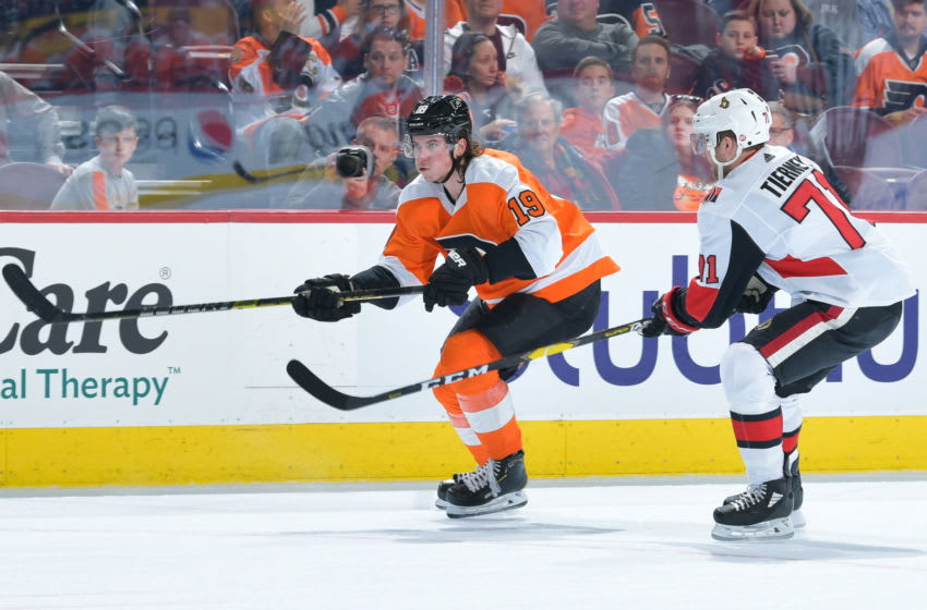 PHILADELPHIA, PENNSYLVANIA - MARCH 11: Nolan Patrick #19 of the Philadelphia Flyers skates against the Ottawa Senators in the second period at Wells Fargo Center on March 11, 2019 in Philadelphia, Pennsylvania. (Photo by Drew Hallowell/Getty Images)