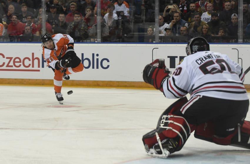 Travis Konecny, Philadelphia Flyers Prague on (Photo by MICHAL CIZEK/AFP via Getty Images)