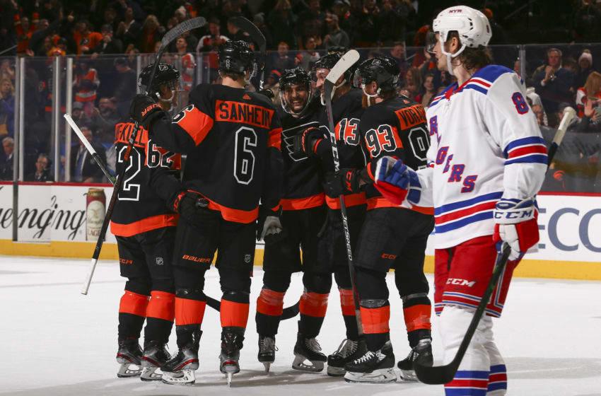 Nicolas Aube-Kubel, Travis Sanheim, Shayne Gostisbehere, Kevin Hayes, and Jakub Voracek, Philadelphia Flyers (Photo by Mitchell Leff/Getty Images)