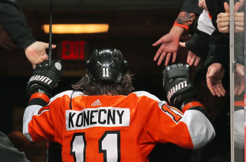 PHILADELPHIA, PA - JANUARY 13: Travis Konecny #11 of the Philadelphia Flyers greats his fans after being named the game