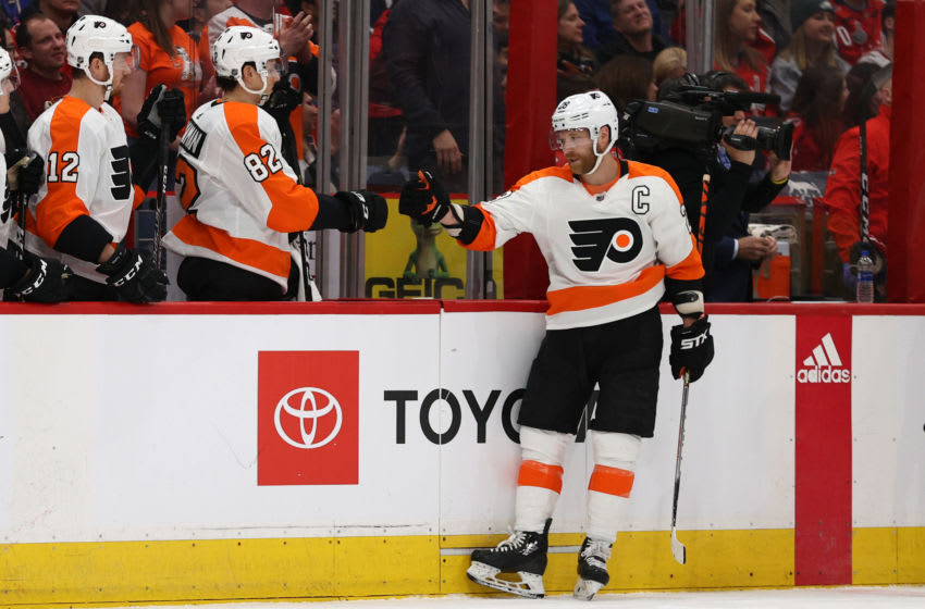 WASHINGTON, DC - FEBRUARY 08: Claude Giroux #28 of the Philadelphia Flyers celebrates his goal against the Washington Capitals during the third period at Capital One Arena on February 08, 2020 in Washington, DC. (Photo by Patrick Smith/Getty Images)
