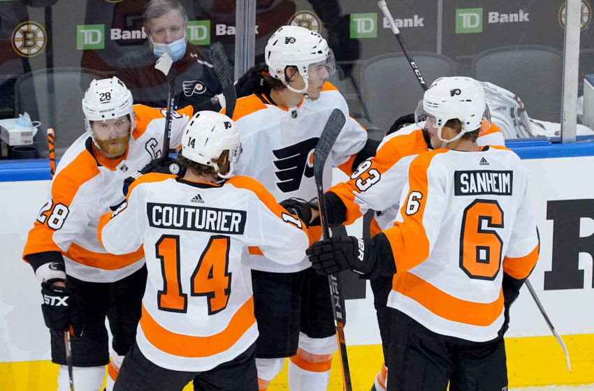 Philippe Myers, Claude Giroux, Sean Couturier ,Jakub Voracek, and Travis Sanheim, Philadelphia Flyers (Photo by Andre Ringuette/Freestyle Photo/Getty Images)