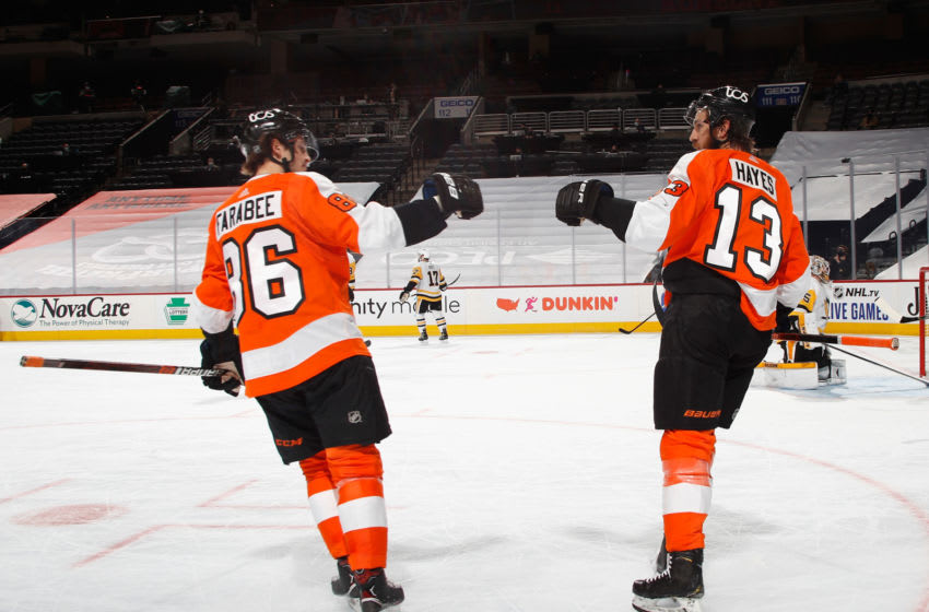 Joel Farabee and Kevin Hayes, Philadelphia Flyers (Photo by Bruce Bennett/Getty Images)