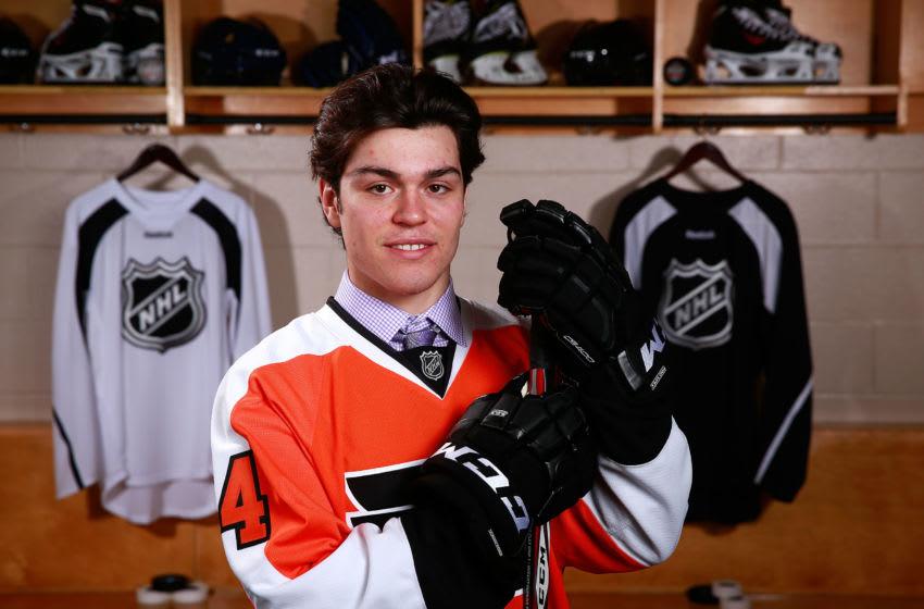 PHILADELPHIA, PA - JUNE 28: Mark Friedman, 86th overall pick of the Philadelphia Flyers, poses for a portrait during the 2014 NHL Entry Draft at Wells Fargo Center on June 28, 2014 in Philadelphia, Pennsylvania. (Photo by Jeff Vinnick/NHLI via Getty Images)